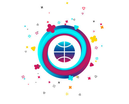 Basketball sign icon. Sport symbol. Colorful button with icon. Geometric elements. Vector