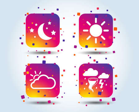 Weather icons. Moon and stars night. Cloud and sun signs. Storm or thunderstorm with lightning symbol. Colour gradient square buttons. Flat design concept. Vector Vectores