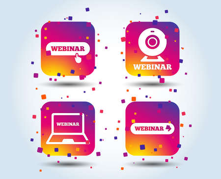 Webinar icons. Web camera and notebook pc signs. Website e-learning or online study symbols. Colour gradient square buttons. Flat design concept. Vector