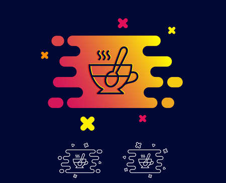 Cup with spoon line icon. Fresh beverage sign. Latte or Coffee symbol. Gradient banner with line icon. Abstract shape. Vector Ilustração