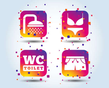 Swimming pool icons. Shower water drops and swimwear symbols. WC Toilet sign. Trunks and women underwear. Colour gradient square buttons. Flat design concept. Vector Ilustrace