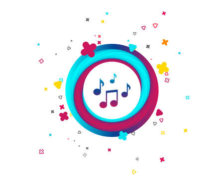 Musiknoten-Zeichensymbol. Musikalisches Symbol. Bunter Knopf mit Symbol. Geometrische Elemente. Vektor Vektorgrafik