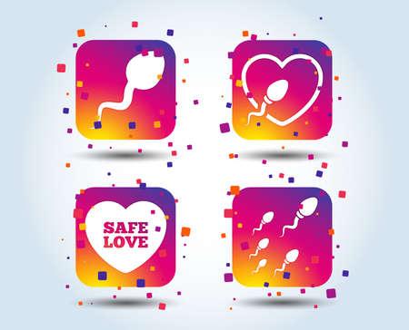 Sperm icons. Fertilization or insemination signs. Safe love heart symbol. Colour gradient square buttons. Flat design concept. Vector