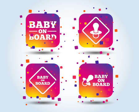 Baby on board icons. Infant caution signs. Nipple pacifier symbol. Colour gradient square buttons. Flat design concept. Vector Foto de archivo - 109773703