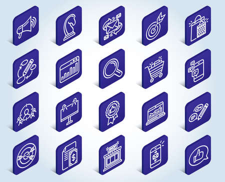 Marketing line icons. Set of Strategy, Feedback and Advertisement campaign signs. Research, Communication and Keywords symbols. Chess Knight, Target and Mail. Flat design isometric buttons. Vector Illustration