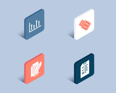 Set of Upper arrows, Feather signature and Usb flash icons. Interview sign. Growth infochart, Feedback, Memory stick. Checklist file.  3d isometric buttons. Flat design concept. Vector