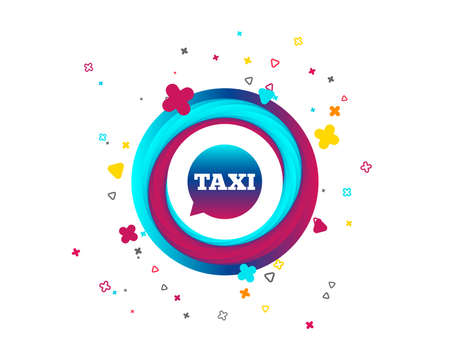 Taxi speech bubble sign icon. Public transport symbol Colorful button with icon. Geometric elements. Vector