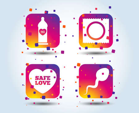 Safe sex love icons. Condom in package symbol. Sperm sign. Fertilization or insemination. Colour gradient square buttons. Flat design concept. Vector Illustration