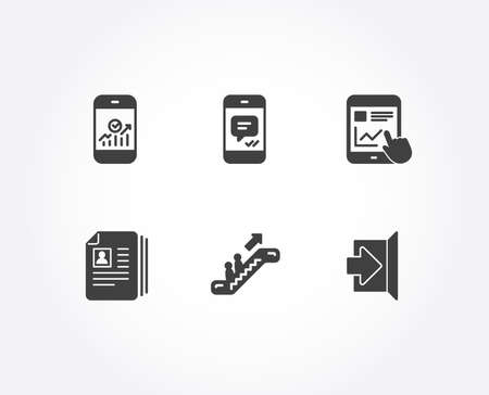 Set of Internet report, Message and Smartphone statistics icons. Escalator, Cv documents and Exit signs. Web tutorial, Phone messenger, Mobile business. Elevator, Portfolio files, Escape. Vector Imagens - 109773718