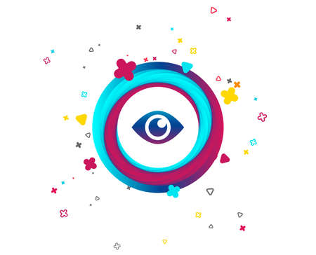 Eye sign icon. Publish content button. Visibility. Colorful button with icon. Geometric elements. Vector Illustration