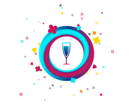 Glass of champagne sign icon. Sparkling wine. Celebration or banquet alcohol drink symbol. Colorful button with icon. Geometric elements. Vector Ilustracja