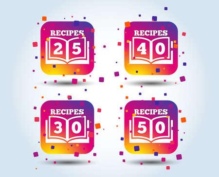 Cookbook icons. 25, 30, 40 and 50 recipes book sign symbols. Colour gradient square buttons. Flat design concept. Vector Stock Illustratie