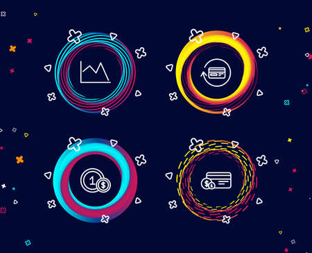 Set of Refund commission, Line chart and Usd coins icons. Payment method sign. Cashback card, Financial graph, Cash payment.  Circle banners with line icons. Gradient colors shapes. Vector