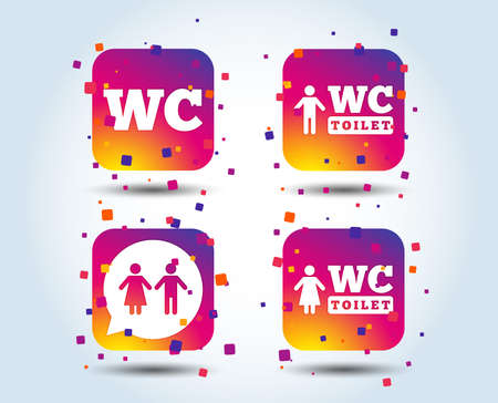 WC Toilet icons. Gents and ladies room signs. Man and woman speech bubble symbol. Colour gradient square buttons. Flat design concept. Vector