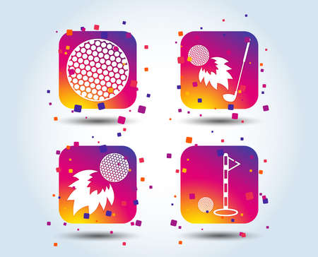 Golf ball icons. Fireball with club sign. Luxury sport symbol. Colour gradient square buttons. Flat design concept. Vector