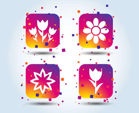 Flowers icons. Bouquet of roses symbol. Flower with petals and leaves. Colour gradient square buttons. Flat design concept. Vector