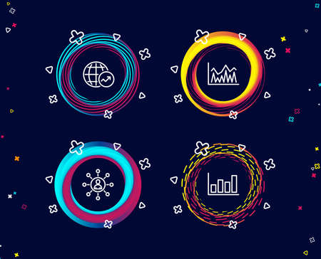 Set of Networking, Investment and World statistics icons. Report diagram sign. Business communication, Economic statistics, Global report. Financial market.  Circle banners with line icons. Vector Banco de Imagens - 108811686