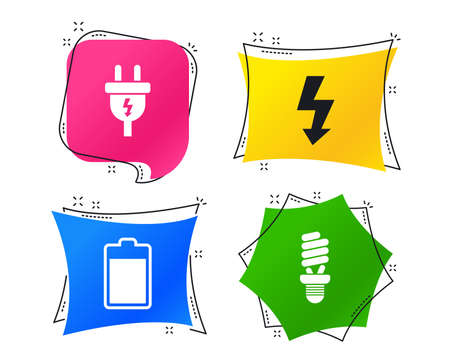 Electric plug icon. Fluorescent lamp and battery symbols. Low electricity and idea signs. Geometric colorful tags. Banners with flat icons. Trendy design. Vector Иллюстрация