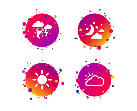 Weather icons. Moon and stars night. Cloud and sun signs. Storm or thunderstorm with lightning symbol. Gradient circle buttons with icons. Random dots design. Vector