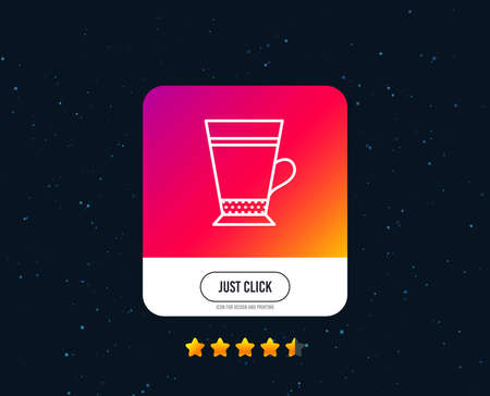 Latte coffee icon. Hot drink sign. Beverage symbol. Web or internet line icon design. Rating stars. Just click button. Vector