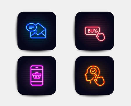 Neon glow lights. Set of Buy button, New mail and Smartphone buying icons. Select user sign. Online shopping, Received e-mail, Website shopping. Head with checkbox.  Neon icons. Glowing light banners