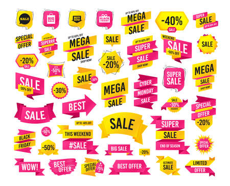 Sales banner. Super mega discounts. Sale speech bubble icons. Buy now arrow symbols. Black friday gift box signs. Big sale shopping bag. Black friday. Cyber monday. Vector Illustration