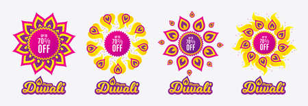 Diwali sales banners. Up to 70% off Sale. Discount offer price sign. Special offer symbol. Save 70 percentages. Diwali hindu festival of lights. Shopping tags. Vector