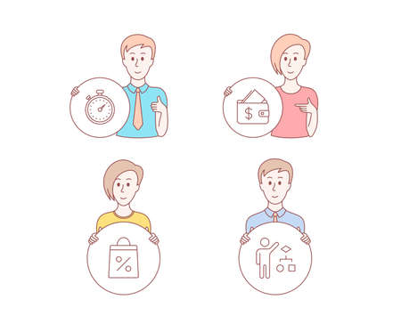 People hand drawn style. Set of Wallet, Shopping bag and Timer icons. Algorithm sign. Affordability, Supermarket discounts, Stopwatch gadget. Developers job.  Character hold circle button. Vector