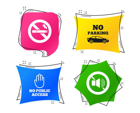 Stop smoking and no sound signs. Private territory parking or public access. Cigarette and hand symbol. Geometric colorful tags. Banners with flat icons. Trendy design. Vector
