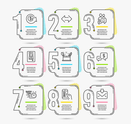 Infographic template with numbers 9 options. Set of Mobile survey, Creativity concept and Dollar exchange icons. Payment received, Quick tips and Communication signs. Vector