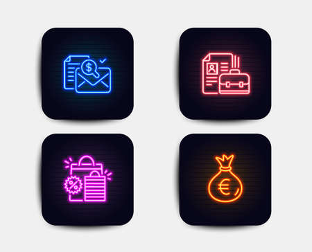 Neon glow lights. Set of Shopping bags, Accounting report and Vacancy icons. Money bag sign. Sale discount, Check finance, Hiring job. Euro currency.  Neon icons. Glowing light banners. Vector Vectores