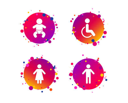 WC toilet icons. Human male or female signs. Baby infant or toddler. Disabled handicapped invalid symbol. Gradient circle buttons with icons. Random dots design. Vector Illustration