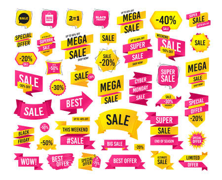 Sales banner. Super mega discounts. Sale speech bubble icons. Two equals one. Black friday sign. Big sale shopping bag symbol. Black friday. Cyber monday. Vector Illustration