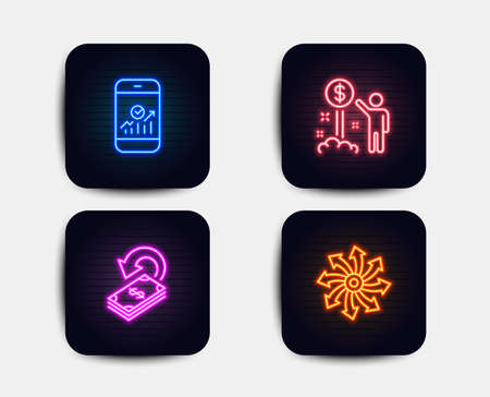 Neon glow lights. Set of Income money, Cashback and Smartphone statistics icons. Versatile sign. Wealth, Financial transfer, Mobile business. Multifunction.  Neon icons. Glowing light banners. Vector