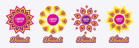 Diwali sales banners. Limited time symbol. Special offer sign. Sale. Diwali hindu festival of lights. Shopping tags. Vector Illustration