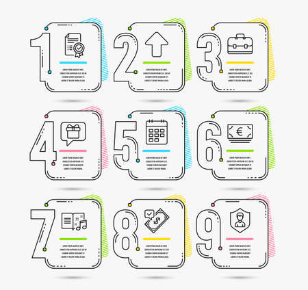 Infographic template with numbers 9 options. Set of Accepted payment, Euro currency and Certificate icons. Music book, Upload and Portfolio signs. Calendar, Wish list and Security agency symbols