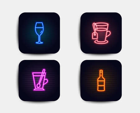 Neon glow lights. Set of Tea, Wineglass and Tea mug icons. Wine sign. Glass mug, Burgundy glass, Cup with teaspoon. Merlot bottle.  Neon icons. Glowing light banners. Vector