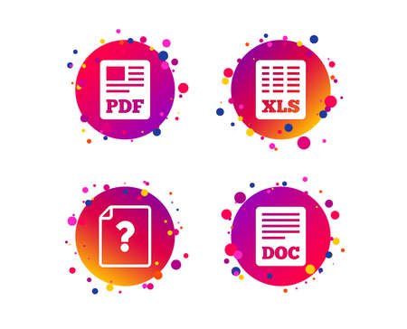 File document and question icons. XLS, PDF and DOC file symbols. Download or save doc signs. Gradient circle buttons with icons. Random dots design. Vector