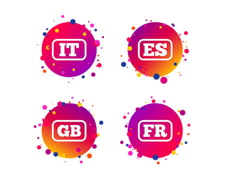 Language icons. IT, ES, FR and GB translation symbols. Italy, Spain, France and England languages. Gradient circle buttons with icons. Random dots design. Vector