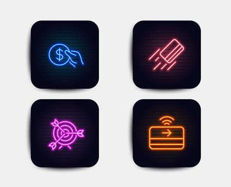 Neon glow lights. Set of Credit card, Target and Payment icons. Contactless payment sign. Targeting, Usd coin.  Neon icons. Glowing light banners. Vector Archivio Fotografico - 109083623