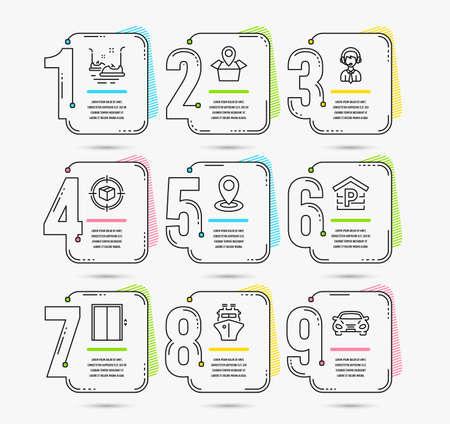 Modèle d'infographie avec numéros 9 options. Ensemble d'icônes de suivi des colis, de stationnement et d'expédition. Ascenseur, autos tamponneuses et enseignes de navires. Emplacement du paquet, symboles d'emplacement et de voiture. Vecteur