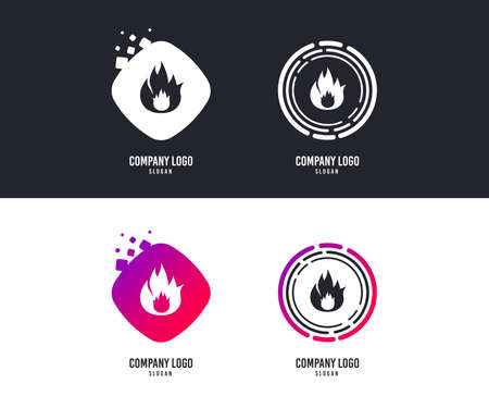 Logotype concept. Fire flame sign icon. Fire symbol. Stop fire. Escape from fire. Logo design. Colorful buttons with icons. Vector Illustration