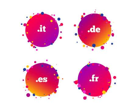 Top-level internet domain icons. De, It, Es and Fr symbols. Unique national DNS names. Gradient circle buttons with icons. Random dots design. Vector