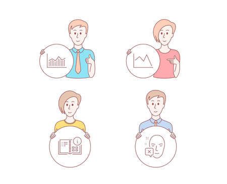 People hand drawn style. Set of Instruction info, Line chart and Money diagram icons. Face declined sign. Project, Financial graph, Currency diagram. Identification error. Vector