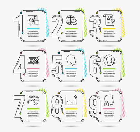 Infographic template with numbers 9 options. Set of World statistics, Copyright laptop and Accounting icons. Head, Face id and Efficacy signs. Report, Methodology and Unlock system symbols. Vector Ilustração