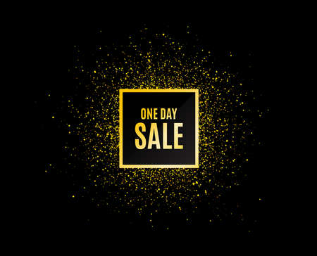 Gold glitter banner. One day Sale. Special offer price sign. Advertising Discounts symbol. Christmas sales background. Abstract shopping banner tag. Template for sale design. Vector Stock Illustratie