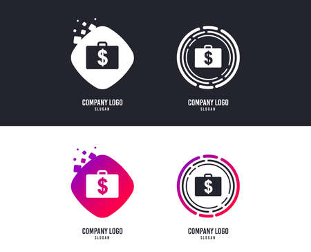 Logotype concept. Case with Dollars USD sign icon. Briefcase button. Logo design. Colorful buttons with icons. Vector