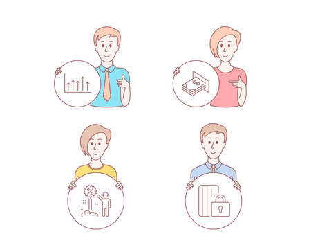 People hand drawn style. Set of Discount, Growth chart and Atm money icons. Blocked card sign. Sale shopping, Upper arrows, Dollar currency. Private money. Character hold circle button. People Vector
