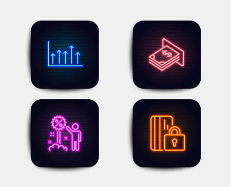 Neon glow lights. Set of Discount, Growth chart and Atm money icons. Blocked card sign. Sale shopping, Upper arrows, Dollar currency. Private money.  Neon icons. Glowing light banners. Vector