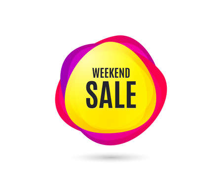 Weekend Sale. Special offer price sign. Advertising Discounts symbol. Gradient sales tag. Abstract shopping banner. Template for design. Vector